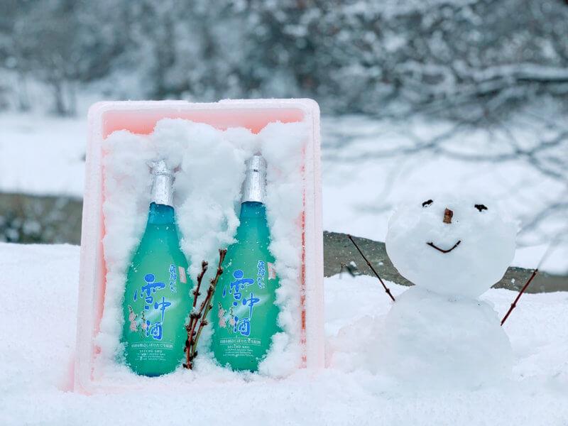 自然の雪を詰めて発送します